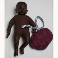 DARK BROWN FETAL DOLL WITH PLACENTA